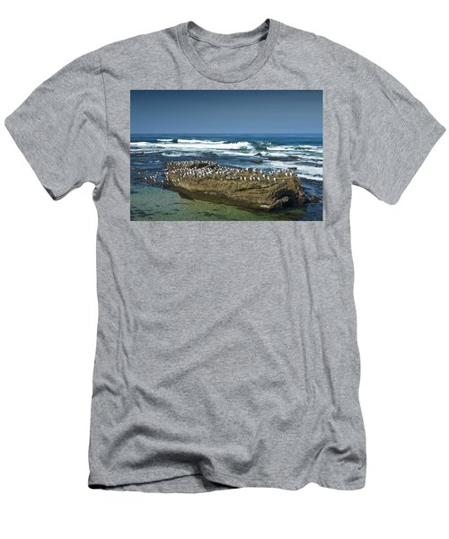 Surf Waves At La Jolla California With Gulls Perched On A Large Rock No. 0194 Men's T-Shirt (Athletic Fit)
