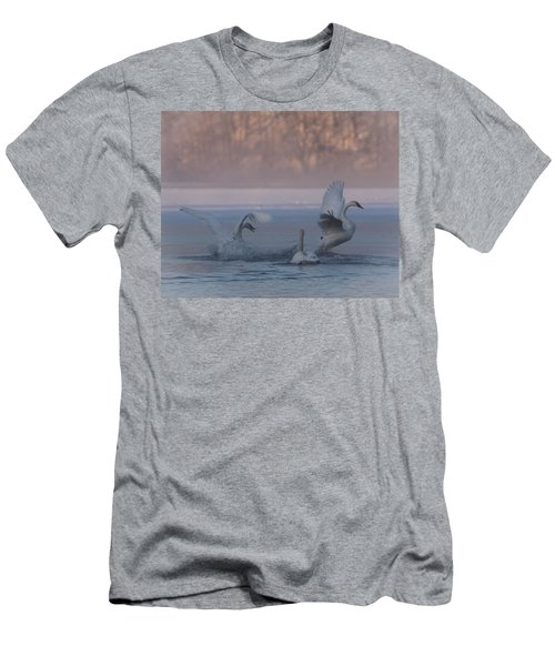 Men's T-Shirt (Slim Fit) featuring the photograph Swans Chasing by Patti Deters