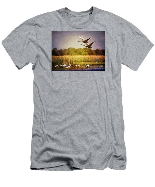 Swans In Flight Men's T-Shirt (Athletic Fit)