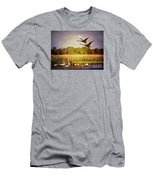 Swans In Flight Men's T-Shirt (Slim Fit)