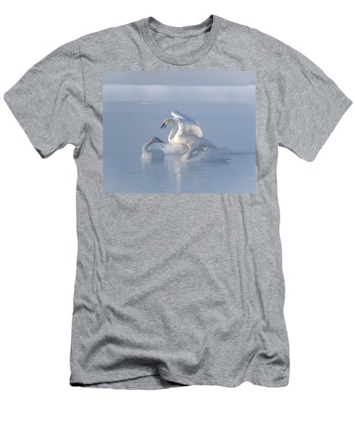 Men's T-Shirt (Slim Fit) featuring the photograph Trumpeter Swans - Three's Company by Patti Deters