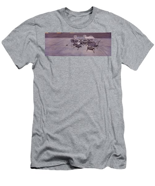 Tables With Chairs On A Street, San Men's T-Shirt (Athletic Fit)