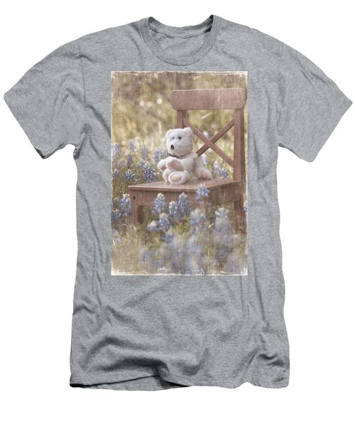 Teddy Bear And Texas Bluebonnets Men's T-Shirt (Athletic Fit)