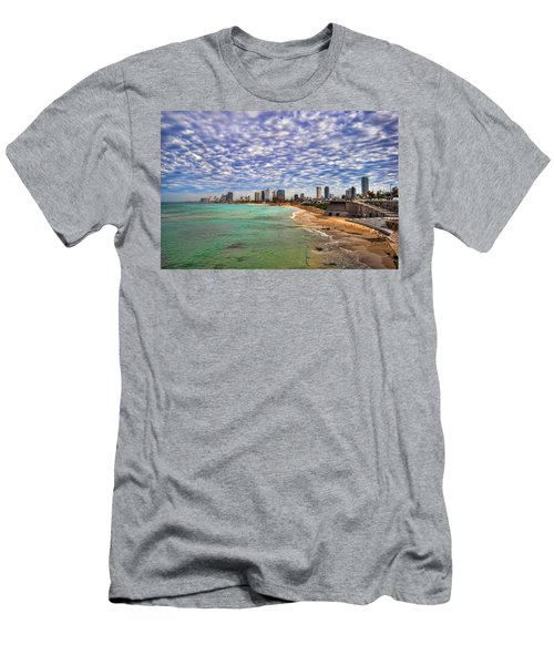 Tel Aviv Turquoise Sea At Springtime Men's T-Shirt (Athletic Fit)