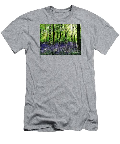 Men's T-Shirt (Slim Fit) featuring the mixed media The Bluebell Woods by Morag Bates