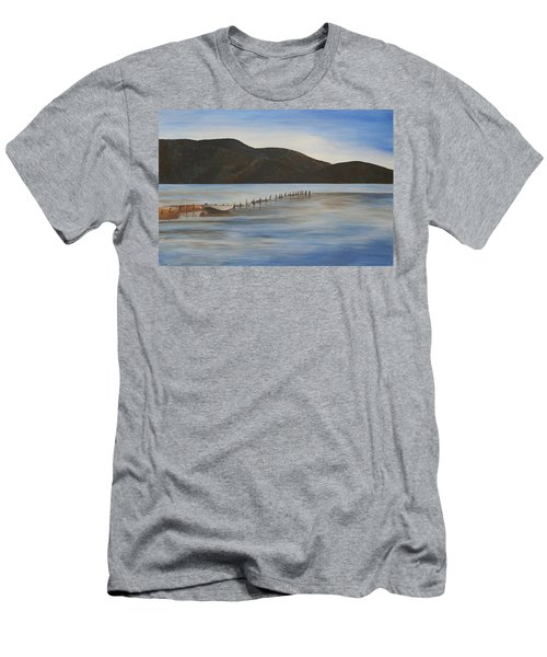 Men's T-Shirt (Slim Fit) featuring the painting The Calm Water Of Akyaka by Tracey Harrington-Simpson