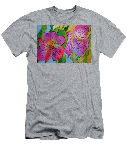Men's T-Shirt (Slim Fit) featuring the painting The Electric Kool-aid Alstroemeria Test by Beverley Harper Tinsley