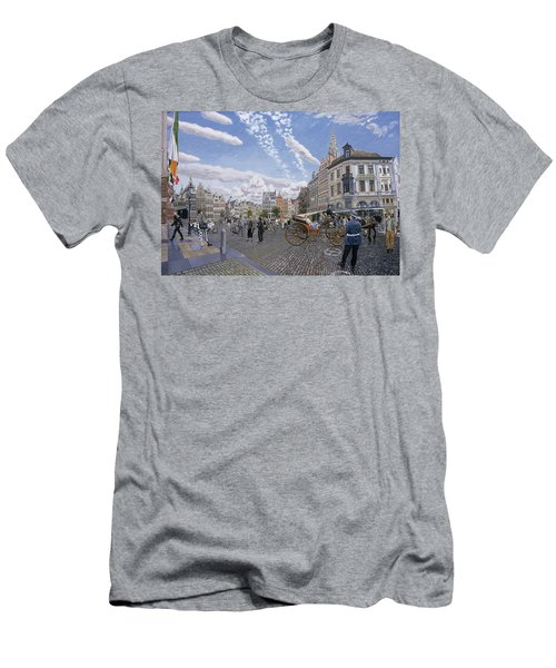 The Great Market Square In Antwerp, 1996 Oil On Board Men's T-Shirt (Athletic Fit)