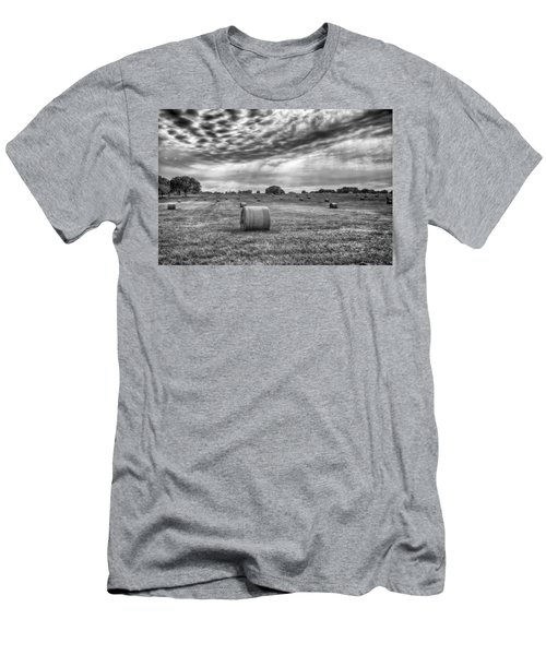 Men's T-Shirt (Athletic Fit) featuring the photograph The Hay Bails by Howard Salmon