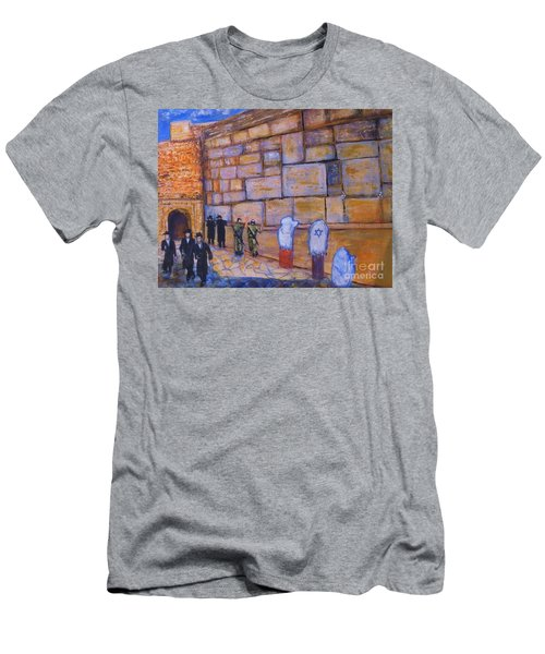 Men's T-Shirt (Slim Fit) featuring the painting The Kotel by Donna Dixon