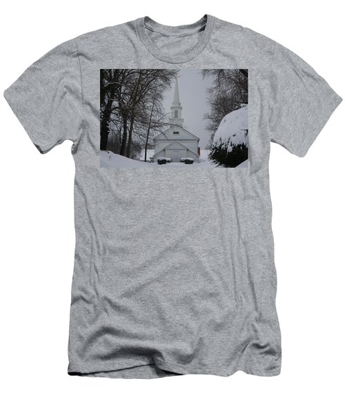 Men's T-Shirt (Slim Fit) featuring the photograph The Little White Church by Dora Sofia Caputo Photographic Art and Design