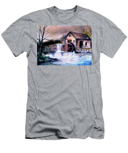 Men's T-Shirt (Slim Fit) featuring the painting The Millstream by Hazel Holland
