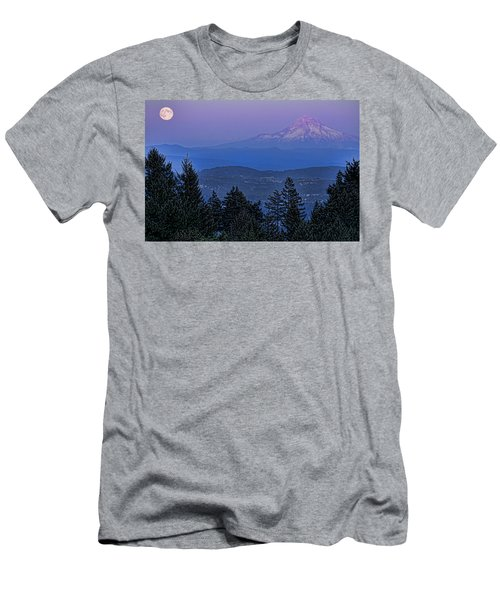 The Moon Beside Mt. Hood Men's T-Shirt (Athletic Fit)