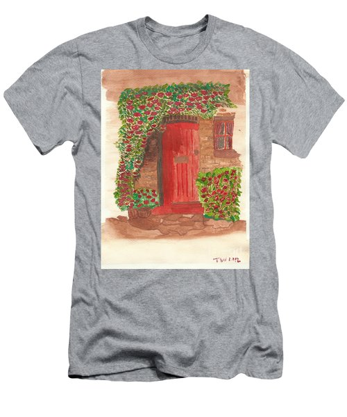 Men's T-Shirt (Slim Fit) featuring the painting The Orange Door by Tracey Williams