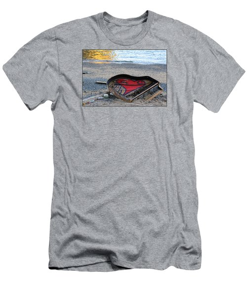 The Piano In New York Harbor Men's T-Shirt (Slim Fit) by Dora Sofia Caputo Photographic Art and Design