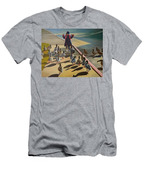 Men's T-Shirt (Slim Fit) featuring the painting The Sidewalk Religion by Thu Nguyen
