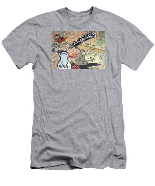 Men's T-Shirt (Slim Fit) featuring the drawing The Studious Rabbit And The Monkey by Eloise Schneider