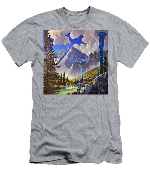 Men's T-Shirt (Slim Fit) featuring the painting The Three Towers by Art James West