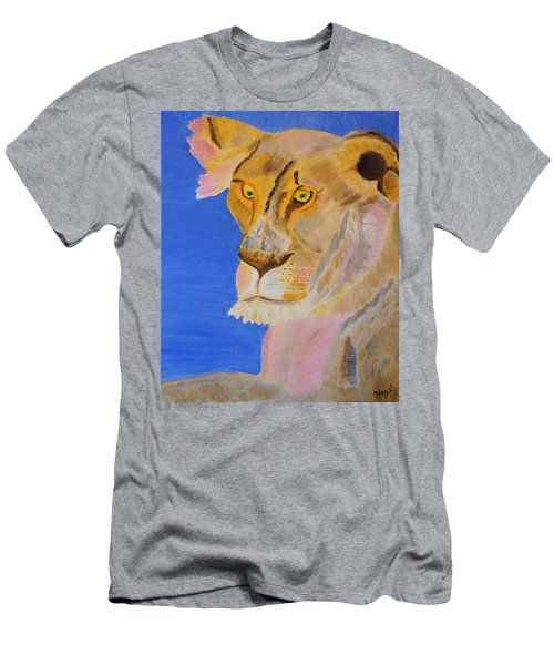 Men's T-Shirt (Slim Fit) featuring the painting Thoughts Of A Feline by Meryl Goudey
