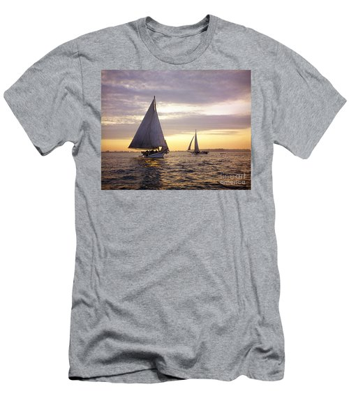 Three Skipjacks Dredging Oysters At Dawn Men's T-Shirt (Athletic Fit)