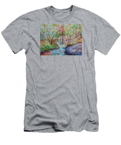 Men's T-Shirt (Slim Fit) featuring the painting Thunder Mountain Mystery by Ellen Levinson