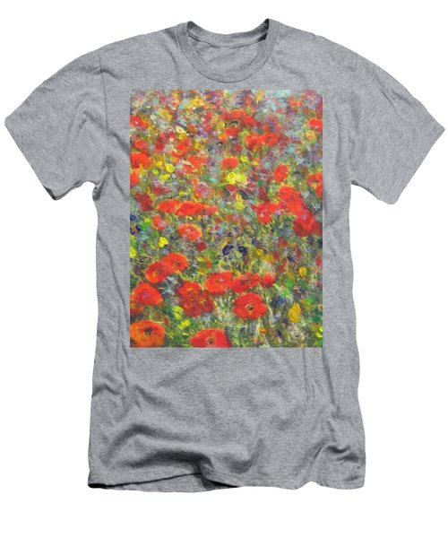 Men's T-Shirt (Slim Fit) featuring the painting Tiptoe Through A Poppy Field by Richard James Digance
