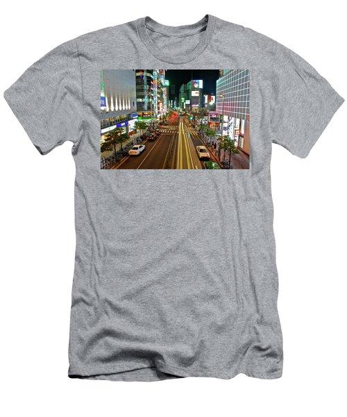 Tokyo Neon Streaks Men's T-Shirt (Athletic Fit)