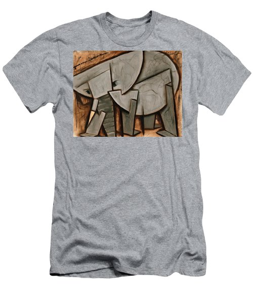 Abstract Cubism Elephant Art Print Men's T-Shirt (Athletic Fit)