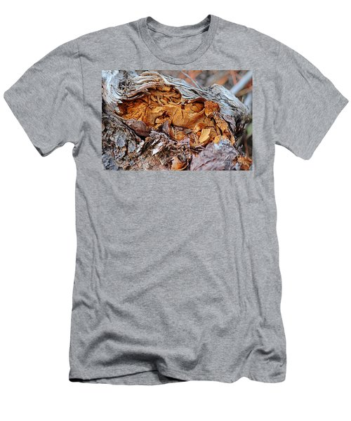 Men's T-Shirt (Athletic Fit) featuring the photograph Torn Old Log by Ann E Robson