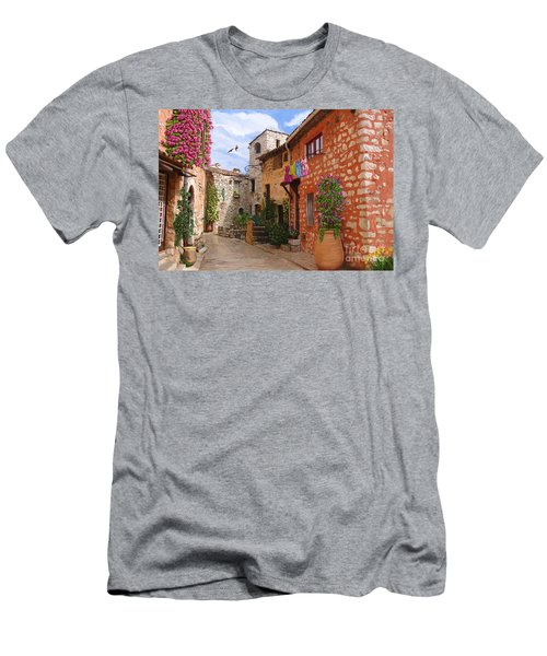 Men's T-Shirt (Slim Fit) featuring the painting Tourettes Sur Loup France by Tim Gilliland