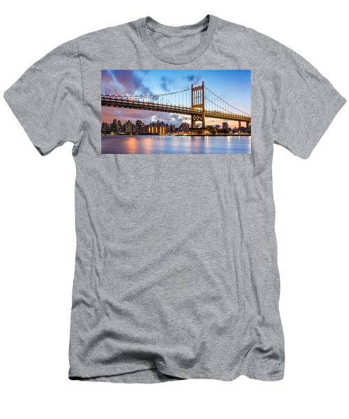 Triboro Bridge At Dusk Men's T-Shirt (Slim Fit) by Mihai Andritoiu