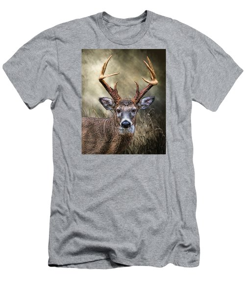 Men's T-Shirt (Slim Fit) featuring the digital art Trophy 10 Point Buck by Mary Almond