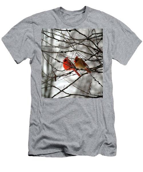 True Love Cardinal Men's T-Shirt (Slim Fit) by Peggy Franz