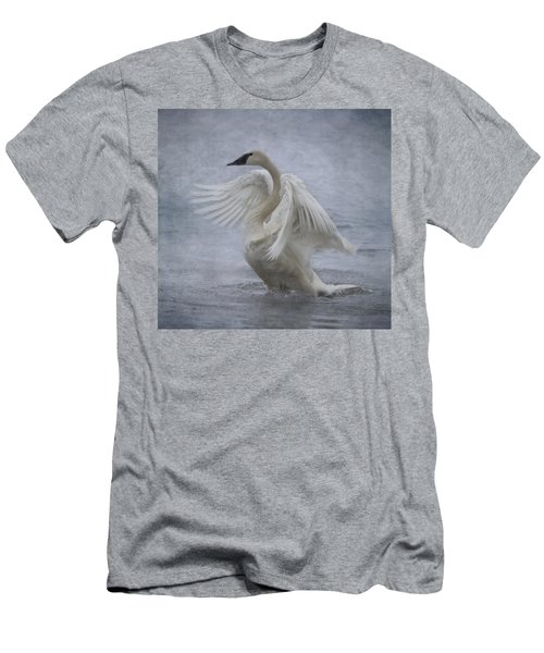 Men's T-Shirt (Slim Fit) featuring the photograph Trumpeter Swan - Misty Display by Patti Deters