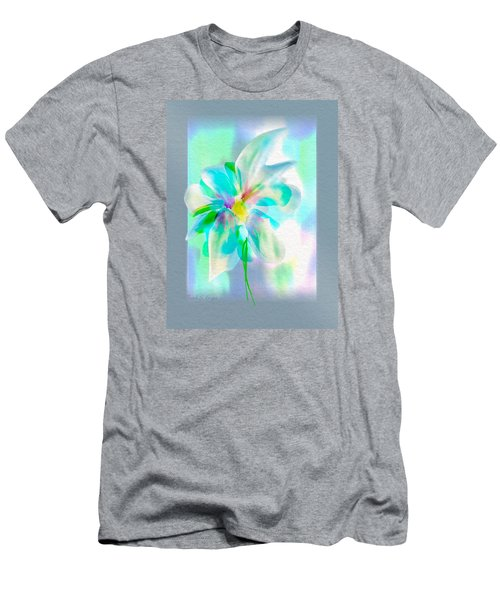 Men's T-Shirt (Slim Fit) featuring the digital art Turquoise Bloom by Frank Bright