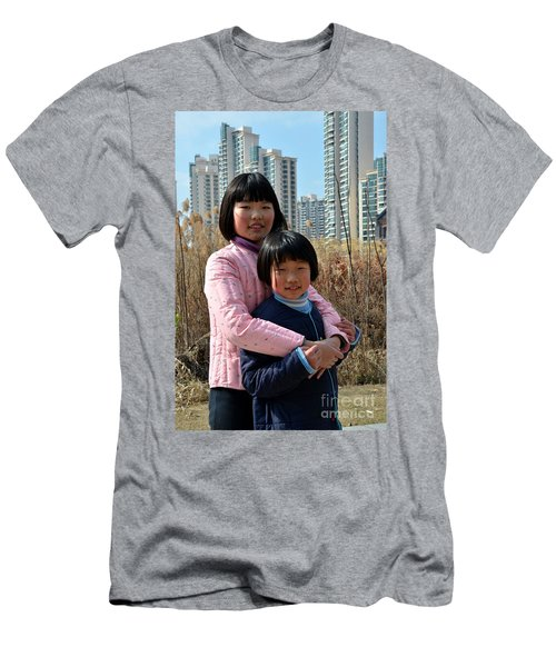 Two Chinese Teen Sisters Hug  And Embrace Shanghai China Men's T-Shirt (Athletic Fit)