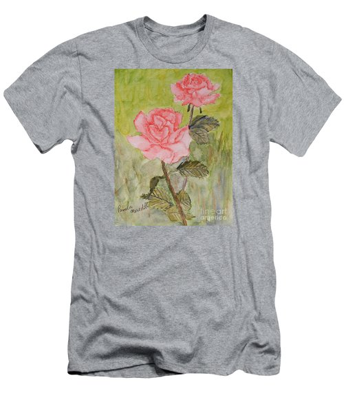 Two Pink Roses Men's T-Shirt (Slim Fit) by Pamela  Meredith