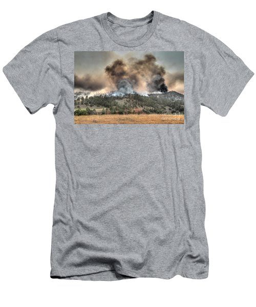 Two Smoke Columns White Draw Fire Men's T-Shirt (Athletic Fit)
