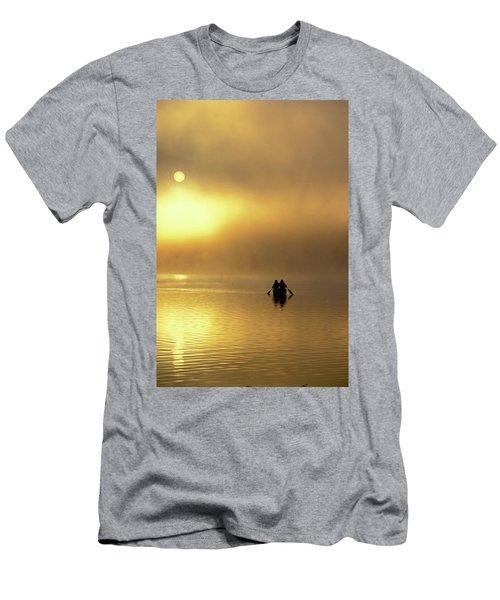Two Women Canoe On Misty Lake Men's T-Shirt (Athletic Fit)
