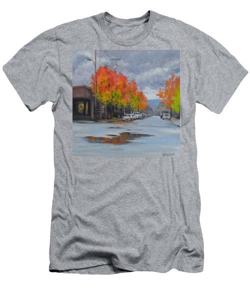 Men's T-Shirt (Slim Fit) featuring the painting Urban Autumn by Karen Ilari