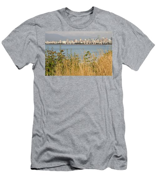 Men's T-Shirt (Slim Fit) featuring the photograph Vancouver Bc Downtown From Hasting Mills Park by JPLDesigns