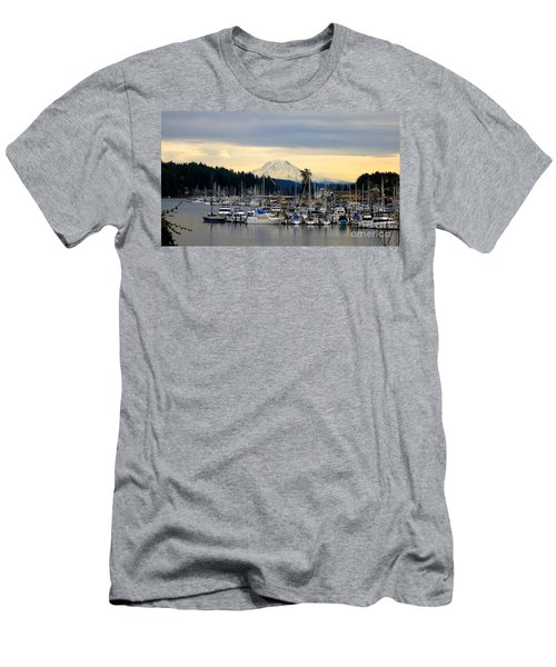 View Of Mt. Rainier From Gig Harbor Wa Men's T-Shirt (Athletic Fit)