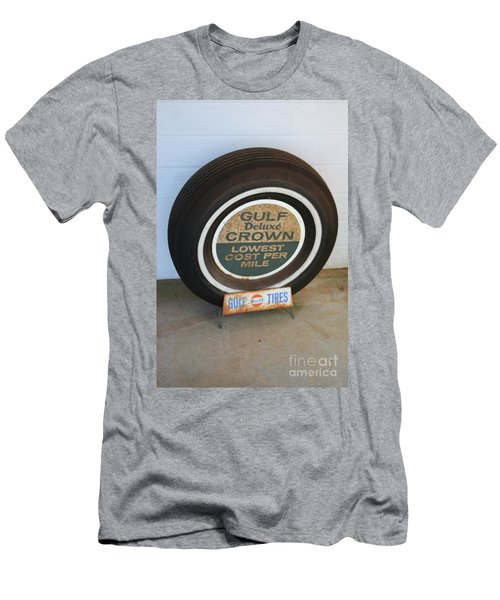 Men's T-Shirt (Slim Fit) featuring the photograph Vintage Gulf Tire With Ad Plate by Lesa Fine