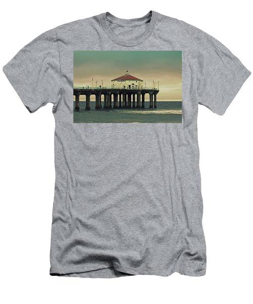 Vintage Manhattan Beach Pier Men's T-Shirt (Athletic Fit)