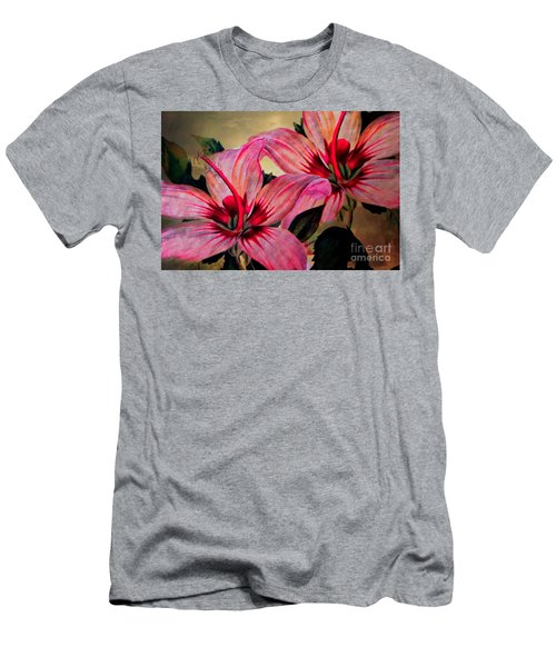 Vintage Painted Pink Lily Men's T-Shirt (Slim Fit) by Judy Palkimas