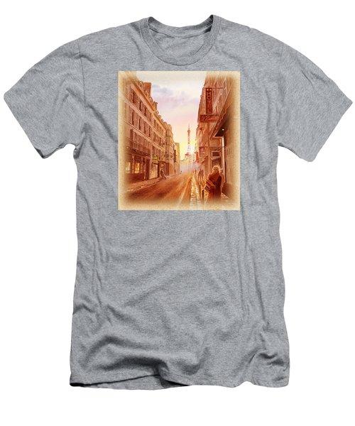 Men's T-Shirt (Slim Fit) featuring the painting Vintage Paris Street Eiffel Tower View by Irina Sztukowski