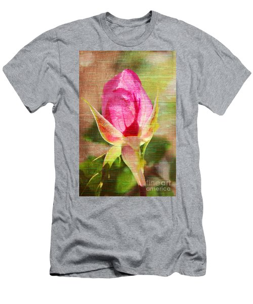 Men's T-Shirt (Slim Fit) featuring the photograph Vintage Pink Rose Bud by Judy Palkimas