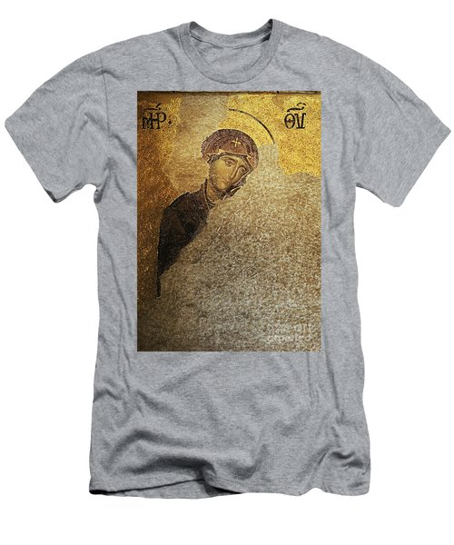 Virgin Mary-detail Of Deesis Mosaic  Hagia Sophia-day Of Judgement Men's T-Shirt (Athletic Fit)