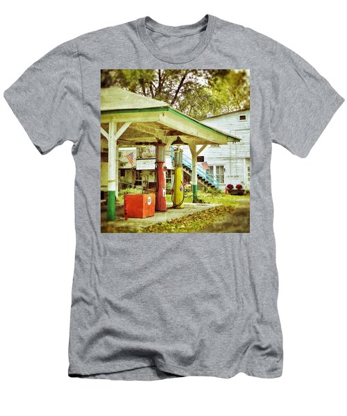 Men's T-Shirt (Slim Fit) featuring the photograph Visible Gas Pumps by Jean Goodwin Brooks
