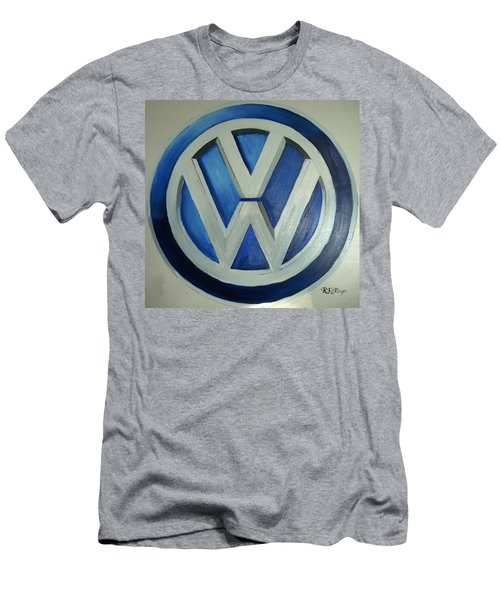 Men's T-Shirt (Athletic Fit) featuring the painting Vw Logo Blue by Richard Le Page